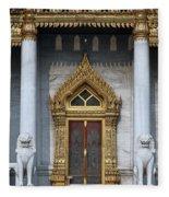 Wat Benchamabophit Ubosot Front Entrance Dthb1242 Fleece Blanket