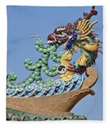 Wat Chaimongkol Pagoda Dragon Finial Dthb787 Fleece Blanket