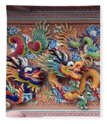 Wat Uphai Rat Bamrung Dancing Dragon Diorama Dthb1095 Fleece Blanket