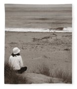 Watching The Ocean In Black And White Fleece Blanket