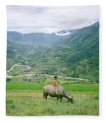 Water Buffalo Boy Fleece Blanket