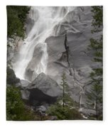 Water Cascading Down The Rock And Fleece Blanket