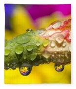Water Drops On A Budding Flower Fleece Blanket