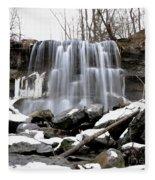 Water Falls At Rock Glen Fleece Blanket