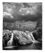 Water Falls At The Aquasabon River Mouth Fleece Blanket
