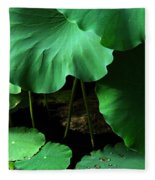 Water Lilies Of Green Fleece Blanket