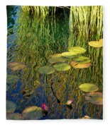 Water Lilies Reflection Fleece Blanket