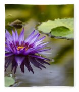 Water Lily Kissing The Water Fleece Blanket