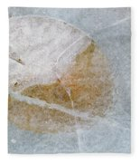 Water Lily Leaf In Ice, Boggy Lake Fleece Blanket