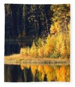 Water Reflection At Jade Lake In Northern Saskatchewan Fleece Blanket