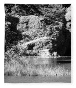 Water Rock Flower In Central Park Fleece Blanket