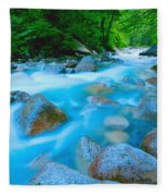 Water Rushing Through Rocks Fleece Blanket