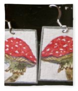 Watercolor Earrings Amanita Fleece Blanket