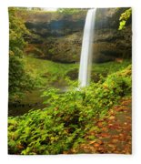 Waterfall Along The Trail Fleece Blanket