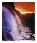 Waterfall At Sunset, Bugaboo Glacier Fleece Blanket