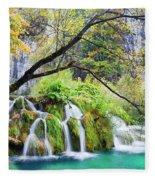 Waterfall In The Plitvice Lakes National Park Fleece Blanket