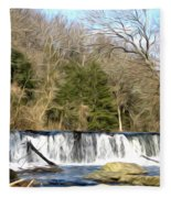 Waterfall In The Woods Fleece Blanket