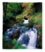 Waterfall In The Woods, Ireland Fleece Blanket