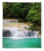 Waterfall In Tropical Forest Fleece Blanket