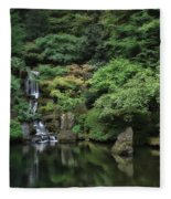 Waterfall - Portland Japanese Garden - Oregon Fleece Blanket