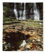 Waterfalls, During The Autumn, Glenoe Fleece Blanket