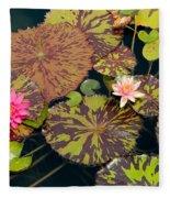Waterlilies In A Garden Pool Fleece Blanket