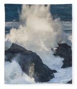 Wave Meets Seastack Fleece Blanket