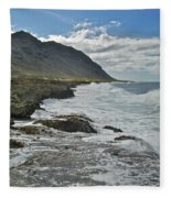 Waves At Kaena State Park 7847 Fleece Blanket