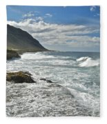 Waves Breaking On Shore 7876 Fleece Blanket