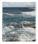 Waves Breaking On Shore  7918 Fleece Blanket
