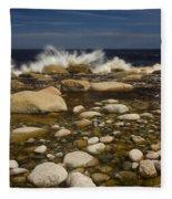 Waves Hitting Rocks, Anchor Brook Fleece Blanket