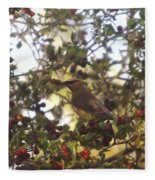 Wax Wing In A Berry Tree  Fleece Blanket
