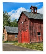 Weathered Red Barn Fleece Blanket