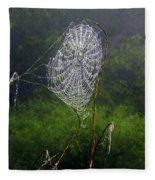 Web Over Foggy Lake Fleece Blanket