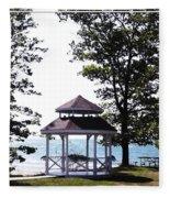 Wedding Gazebo By Lake Erie At Evangola State Park Fleece Blanket