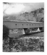 West Cornwall Connecticut Covered Bridge Black And White Fleece Blanket