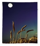 Wheat Field At Night Under The Moon Fleece Blanket