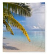 Whispering Palm On The Tropical Beach Fleece Blanket