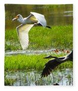 White And Grey Herons In Flight Fleece Blanket