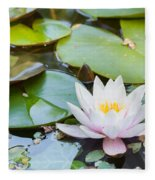 White And Pink Water Lily Fleece Blanket