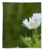 White Aster Wildflower Fleece Blanket