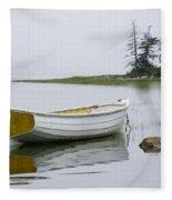 White Boat On A Misty Morning Fleece Blanket