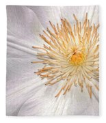 White Clematis Fleece Blanket