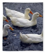 White Ducks Fleece Blanket