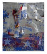 White Elephant Ride Abstract Fleece Blanket