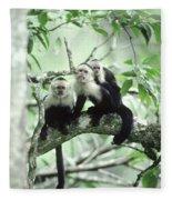 White-faced Capuchins Fleece Blanket