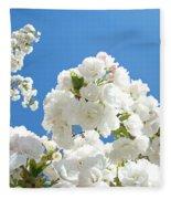 White Floral Blossoms Art Prints Spring Tree Blue Sky Fleece Blanket