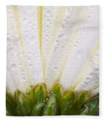 White Flower Head With Dew Fleece Blanket