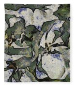White Geraniums   -- Vangogh Fleece Blanket