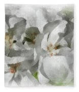 White Geraniums - Watercolor Fleece Blanket